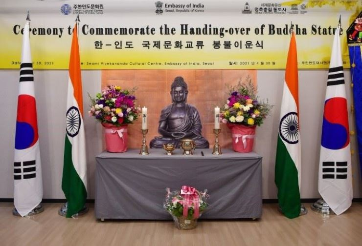 A Buddha statue, provided to the Tongdo Temple by the Indian Council for Cultural Relations, is seen during a handing-over ceremony at the Swami Vivekananda Cultural Centre of the Embassy of India in Seoul, Friday. Courtesy of the Indian Embassy to Korea