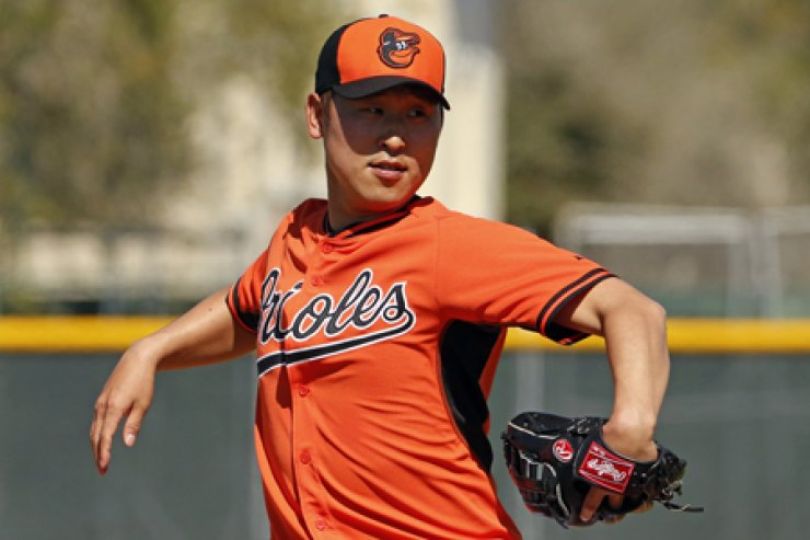 The Baltimore Orioles decided to send Korean pitcher Yoon Suk-min to the minor leagues after he gave up one run over two innings in an exhibition game against the Tampa Bay Rays in Fla., on Thursday (KST). / AP-Yonhap