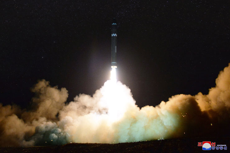 North Korea released photos of its new Hwasong-15 intercontinental ballistic missile, which it fired toward the East Sea on Wednesday. / Yonhap