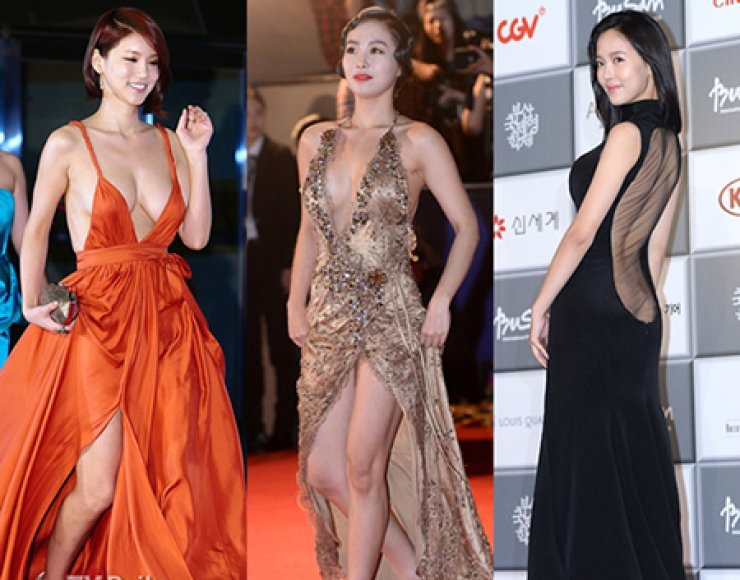 Actresses (from left to right) Oh In-hye, Han Su-ah and Kang Han-na on the red carpet at the Busan International Film Festival.