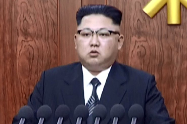 North Korean leader Kim Jong-eun delivers a national address on New Year's Day. / Yonhap