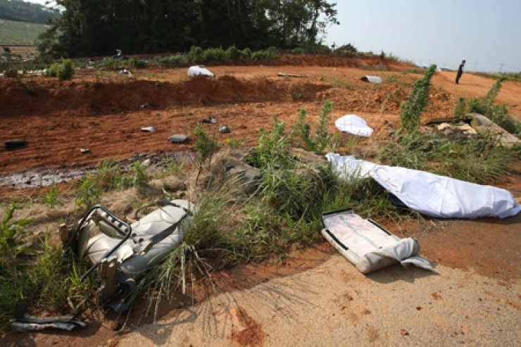 The debris from the light plane that crashed in Muan, South Jeolla Province. /Yonhap
