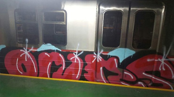 Daegu police have arrested two Russians for allegedly vandalizing public property and stealing clothes. In this photo taken at a Daegu subway depot, 'ONAS' is painted on a subway car. / Courtesy of Daegu Metropolitan Police Agency