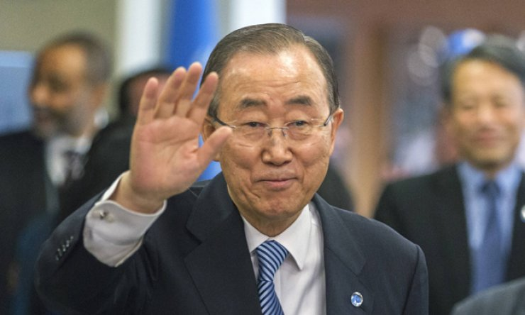 Ban Ki-moon leaves the U.N. headquarters in New York on Dec. 30, 2016. / Yonhap