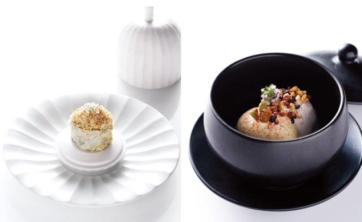 Mingles Foie Gras White Kimchi Roll, left, and Jang Trio / Courtesy of La Main