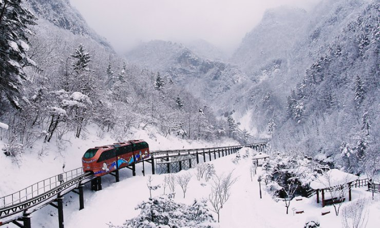 A monorail goes into Daegeum Cave in Samcheok, Gangwon Province. / Courtesy of Gangwon Provincial Government