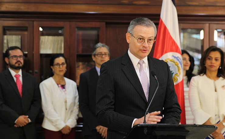 Costa Rica's Foreign Minister Manuel Gonzalez Sanz speaks dyring a press conference in Costa Rica at the Presidential House July 12. /Coutresy of Costa Rica's Presidential House