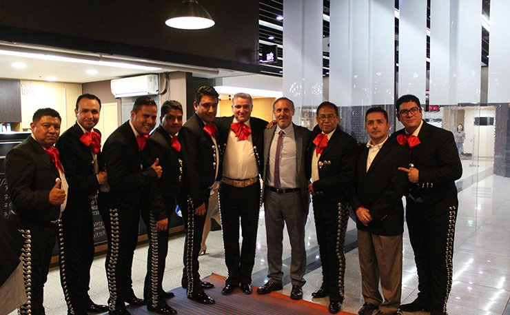Mexican dancers pose for a photo at an opening ceremony  of the 'Latin American Film Festival 2017' at the Korea Film Archive in Seoul on Sept. 6. /Courtesy of Embassy of Ecuador
