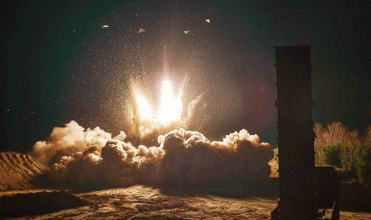 A Hyunmoo-2 ballistic missile is launched off during a live-fire drill in the East Sea, early Wednesday, held in response to an alleged ICBM test by North Korea. / Yonhap