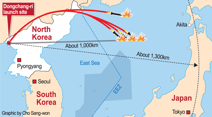 North Korea Fires Four Ballistic Missiles In Protest Of Seoul - Japan map missile