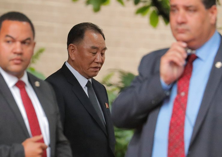 Kim Yong-chol, North Korean leader Kim Jong-un's special envoy, leaves after a meeting with U.S. Secretary of State Mike Pompeo in New York, Thursday. / Reuters-Yonap
