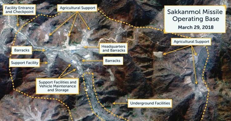 A Digital Globe satellite image taken on March 29 shows what the Washington, D.C.-based Center for Strategic and International Studies' Beyond Parallel project claims is an undeclared missile operating base at Sakkanmol, North Korea. / Reuters-Yonhap