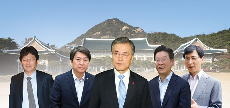Presidential contenders from left, Bareun Party lawmaker Yoo Seung-min; People's Party Ahn Ahn Chul-soo; former leader of Democratic Party of Korea Moon Jae-in; Seongnam Mayor Lee Jae-myeong and South Chungcheong Gov. An Hee-jung. / Graphic design by Cho Sang-won