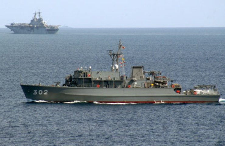 The Japan Maritime Self-Defense Force minesweeper Tsushima (JS 302)