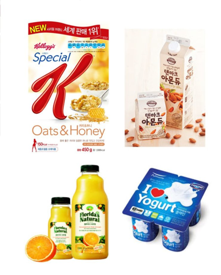 Clockwise from top left are Nongshim Kellogg's Special K Oats & Honey cereal, Dongwon F&B's Denmark Almond milk, Florida Natural orange juice produced by Maeil Dairy Industries and Pulmuone Danone's new yogurt I Love Yogurt. / Courtesy of Imok Communications