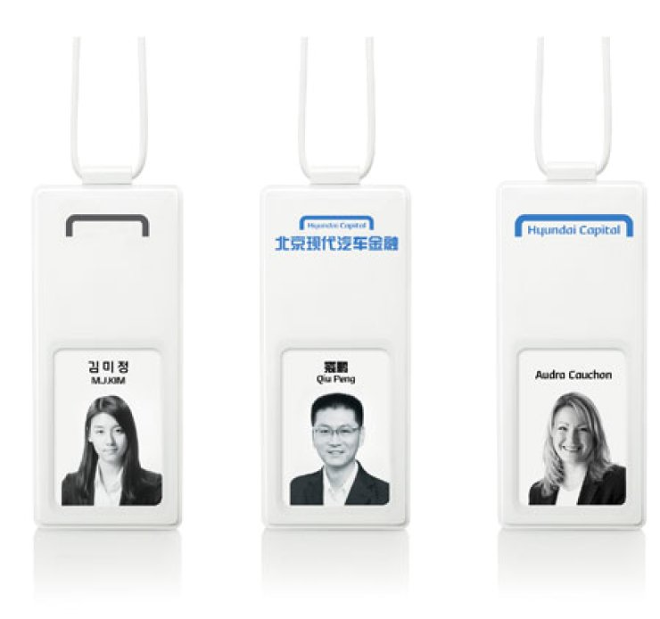 These are name tags used by Hyundai Capital's employees in Korea, China and Europe. The country's No. 1 consumer financier has advanced into major automobile markets around the world. / Courtesy of Hyundai Capital