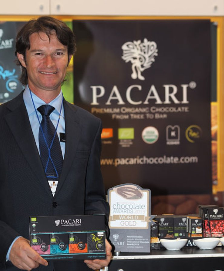 Santiago Peralta, founder and CEO of Pacari Chocolate of Ecuador, explains the biodynamic nature of his premium products at COEX in southern Seoul, Saturday. / Korea Times photo by Nho Joon-hun