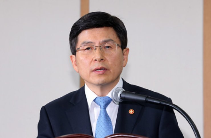 Justice Minister Hwang Kyo-ahn speaks at a news conference at the Gwacheon Government Complex, Gyeonggi Province, Thursday, after President Park Geun-hye named him as new prime minister. He said he will do his best to stimulate the economy and stabilize people's livelihoods. The nomination came about 20 days after former Prime Minister Lee Wan-koo resigned amid mounting pressure over a bribery allegation. / Yonhap