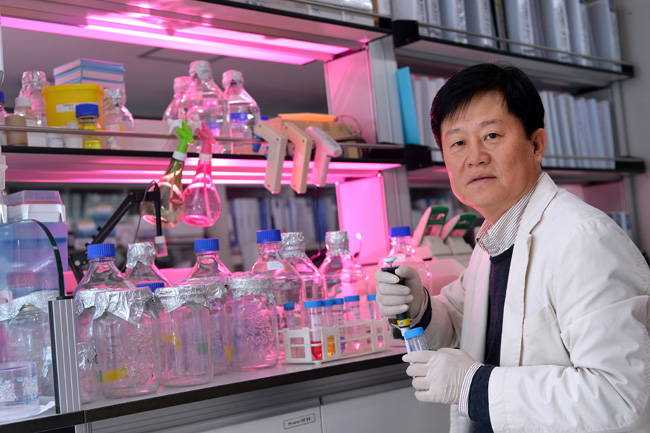 Professor Kim Dong-wook of Seoul St. Mary's Hospital of the Catholic University of Korea is the nation's first doctor to lead an entire drug development process. / Korea Times photo by Shim Hyun-chul