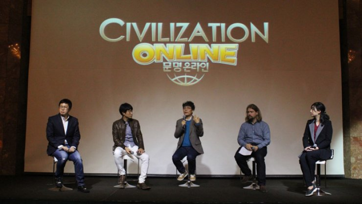 XLGames CEO Jake Song, center, and 2K Games senior game producer Garrett Bittner, second from left, speak during a press conference at the JW Marriot Hotel Seoul in Seocho, southern Seoul, Wednesday. / Courtesy of XLGames