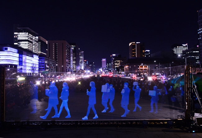 A 'ghost rally' using holographic images. / Korea Times photo by Shim Hyun-chul