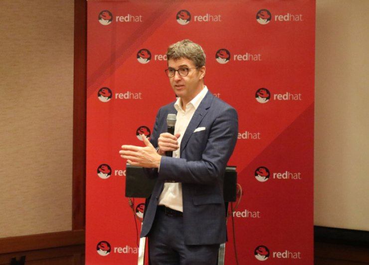 Red Hat Senior Vice President Dirk-Peter van Leeuwen speaks during a press conference at the Grand InterContinental Hotel in southern Seoul, Friday. / Courtesy of Red Hat Korea