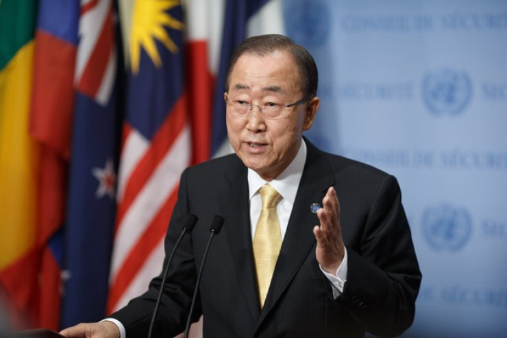United Nations (U.N.) Secretary-General Ban Ki-moon speaks to journalists during a press conference at the U.N. headquarters in New York, Thursday. / Xinhua-Yonhap