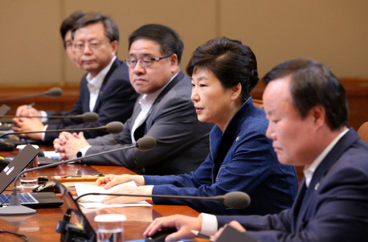 President Park Geun-hye speaks at a meeting with her senior secretaries at Cheong Wa Dae in Seoul, Monday. / AP-Yonhap