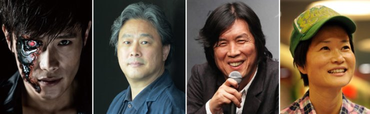 From left, Lee Byung-hun, Park Chan-wook, Lee Chang-dong, Kim So-yong