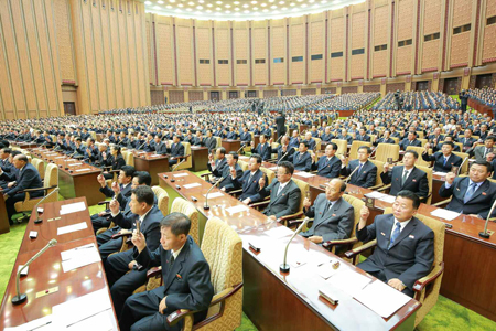 Kim Jong-un appears to be taking a nap during North Korea's Supreme People's Assembly. / Yonhap