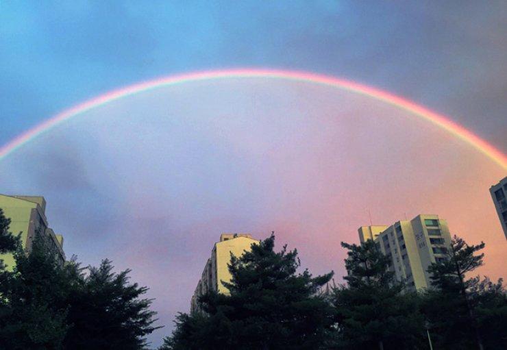 A rainbow brightens the sky in Bundang District, Seongnam, Gyeonggi Province, on Sunday afternoon. / Yonhap