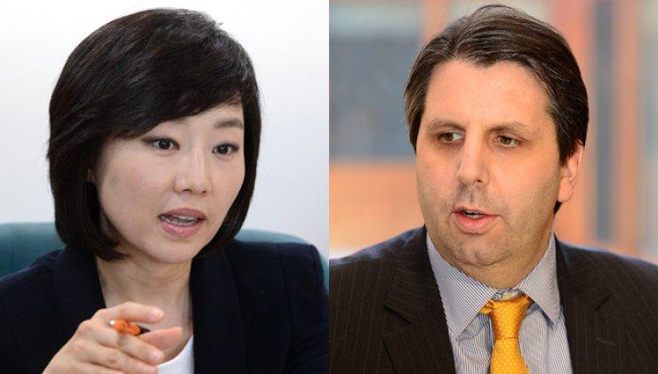 Cho Yoon-sun, left, and Mark Lippert