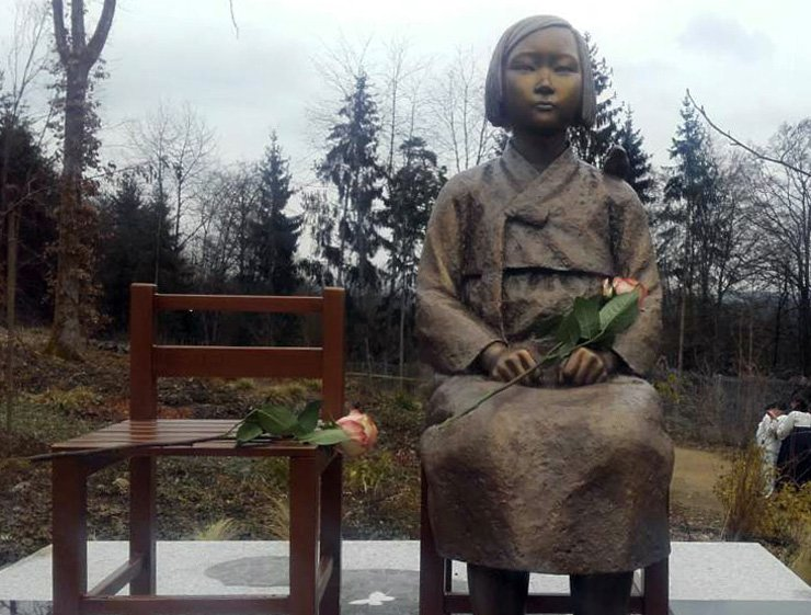 A girl statue symbolizing 'comfort women' elected on March 8 at Nepal Himalaya Pavillon in Wiesent, Germany. / Yonhap