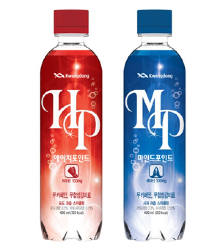 Kwangdong Pharmaceutical has started marketing two low-calorie soft drinks called HP and MP. HP stands for Healing Point and MP is Mind Point. Courtesy of Kwangdong Pharmaceutical