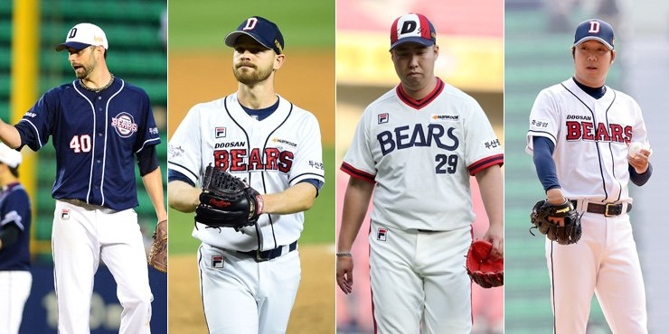 From left are Doosan Bears pitchers Dustin Nippert, Michael Bowden, Yu Hui-kwan and Jang Won-jun. Baseball fans call the four starters the 'Fantastic Four' for their key roles behind the club's sweeping of the regular season and the best-of-seven Korean Series last year. / Yonhap