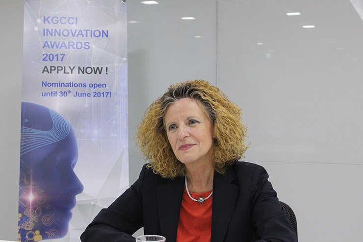 Ingrid Drechsel, CEO and president of bayer Korea and chairperson of the Korea-German Chamber of Commerce and Industry (KGCCI), speaks during an interview with The Korea Times. / Courtesy of KGCCI