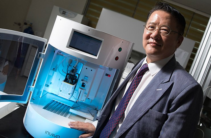 You Seok-hwan, founder and ceo of Rokit, poses in front of the 3D bio-printer Invivo at his office in Gasan Digital Complex in western Seoul, Tuesday.   / Korea Times photo by Choi Won-suk