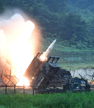 A North Korean Hwasong-14 intercontinental ballistic missile is launched in this photo released by the North's state-run Korean Central News Agency, Saturday. The missile was launched from Chagang Province, northern North Korea, at 11:41 p.m., Friday. / Yonhap