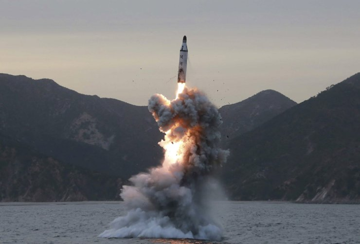 An undated file photo released by the North Korean Central News Agency shows an underwater test-fire of strategic submarine ballistic missile conducted at an undisclosed location in North Korea. / EPA-Yonhap
