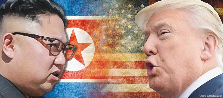 North Korean leader Kim Jong-un and U.S. President Donald Trump are intensifying a war of words. Kim called Trump a 'mentally deranged dotard' after the U.S. president authorized fresh sanctions against the North for its missile and nuclear provocations. The exchange of bellicose rhetoric and personal abuse between the adversaries is feared to escalate tensions on the Korean Peninsula. / Graphic by Cho Sang-won