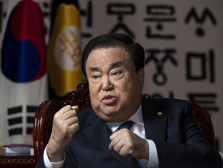 National Assembly Speaker Moon Hee-sang speaks during an interview with The Korea Times in his office at the National Assembly, Tuesday. Korea Times photo by Shim Hyun-chul