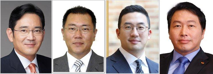 From left, Samsung Electronics Vice Chairman Lee Jae-yong, Hyundai Motor Group Executive Vice Chairman Chung Euisun, LG Group Chairman Koo Kwang-mo and SK Group Chairman Chey Tae-won