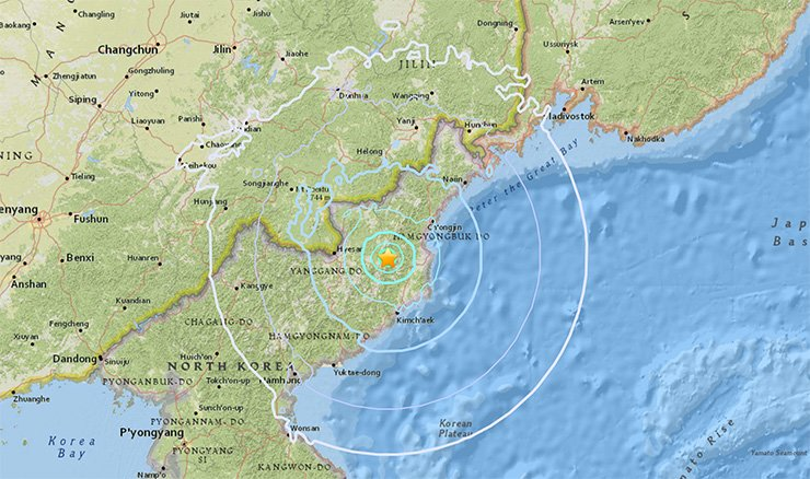 The marked location is the presumed epicenter of the two powerful tremors -- with magnitudes of 5.7 and 4.6 -- that occurred on Sunday afternoon. / Captured from the U.S. Geological Survey