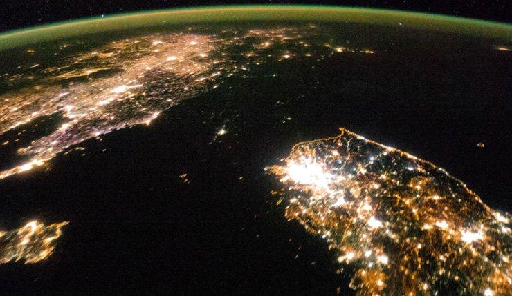A satellite photo of the Korean Peninsula at night / Yonhap