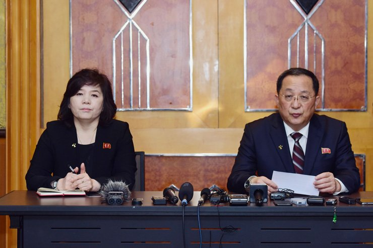 North Korean Foreign Minister Ri Yong-ho, right, speaks as Vice Minister of Foreign Affairs Choe Son-hui looks on during a press conference in Hanoi early on March 1, following the U.S.-North Korea summit. He said North Korea had offered to dismantle its Yongbyon nuclear plant in exchange for partial sanctions relief at Kim Jong-un's summit with Donald Trump, after the meeting ended without agreement. AFP