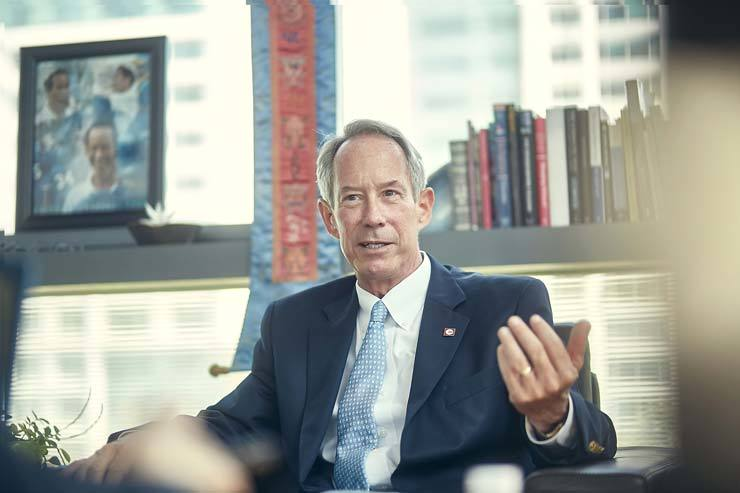 Frederick T. Hill, head of school at Chadwick International, speaks during an interview held in his office in Songdo, Incheon, April 28. / Courtesy of Chadwick International