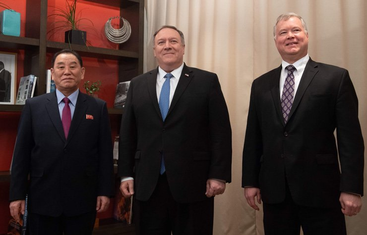 U.S. Secretary of State Mike Pompeo, center, and U.S. Special Representative for North Korea Stephen Biegun, right, stand with North Korean envoy Kim Yong-chol prior to a meeting in Washington, DC, Jan. 18. AFP