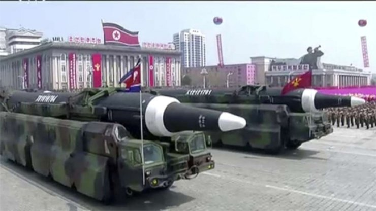 Missiles are paraded in Pyongyang on Saturday to celebrate the birthday of North Korean founder Kim Il-sung.