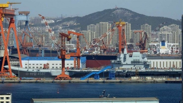 China's first domestically built carrier, known only as the Type 001A, at its berth in Dalian city in Liaoning province