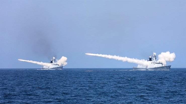 The PLA Navy is conducting live-fire drills in the Yellow Sea.